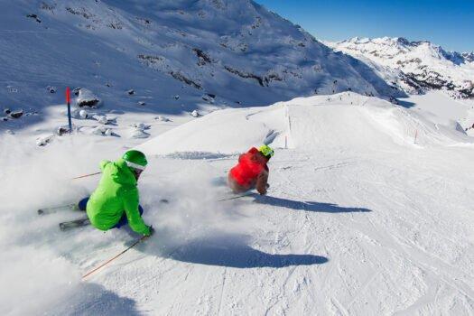 is, Skigebiet, Skifahren, Piste, Schnee, Sonne, SnowXpark, Schneemobil